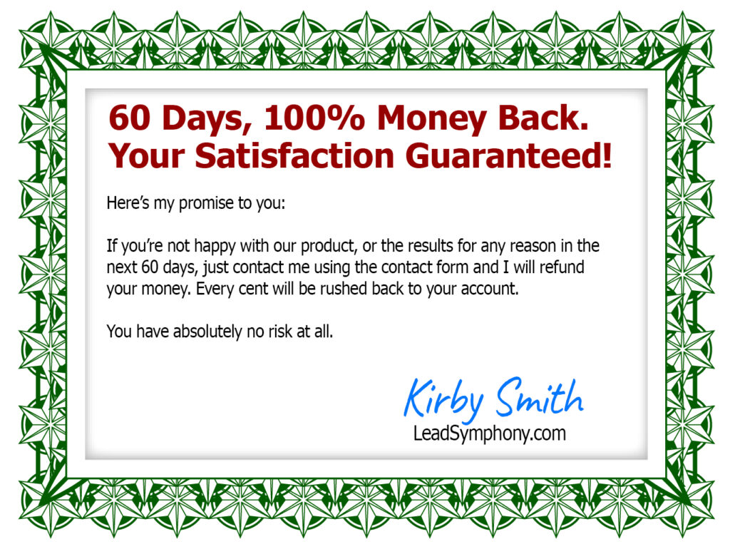 60 Day Guarantee Certificate Lead Symphony